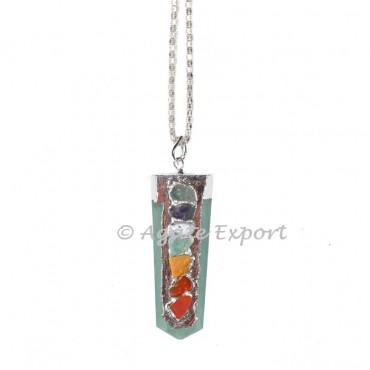 Peach Moonstone 7 Chakra Flat Natural Gemstone Pendant Necklace 50cm Healing